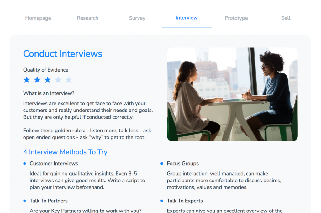 Business Idea Generator conducting interviews page.
