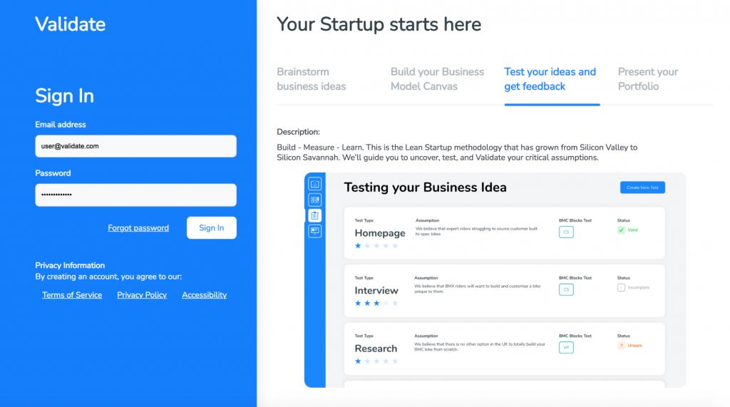 Validate Business Idea Generator Login page.