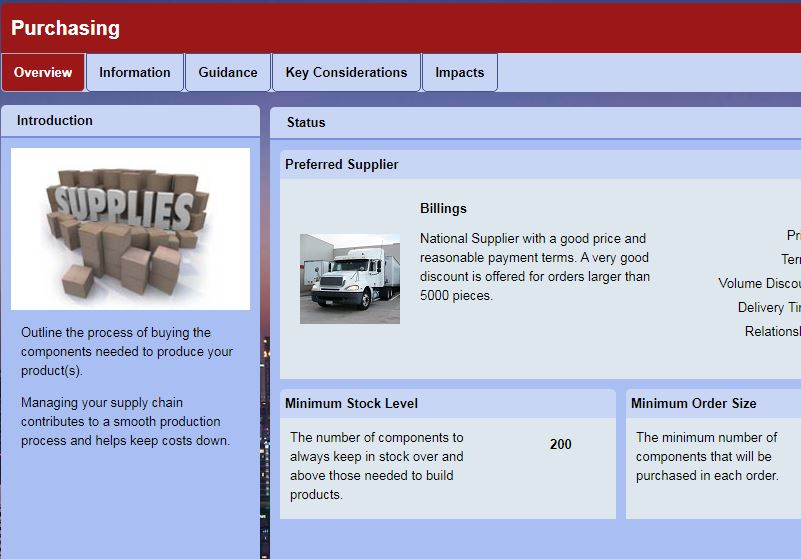 SimVenture Evolution business simulation operations view displaying supplier settings.