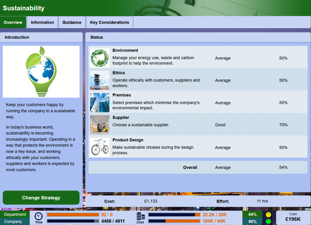 New sustainability features have been added to the online business simulation