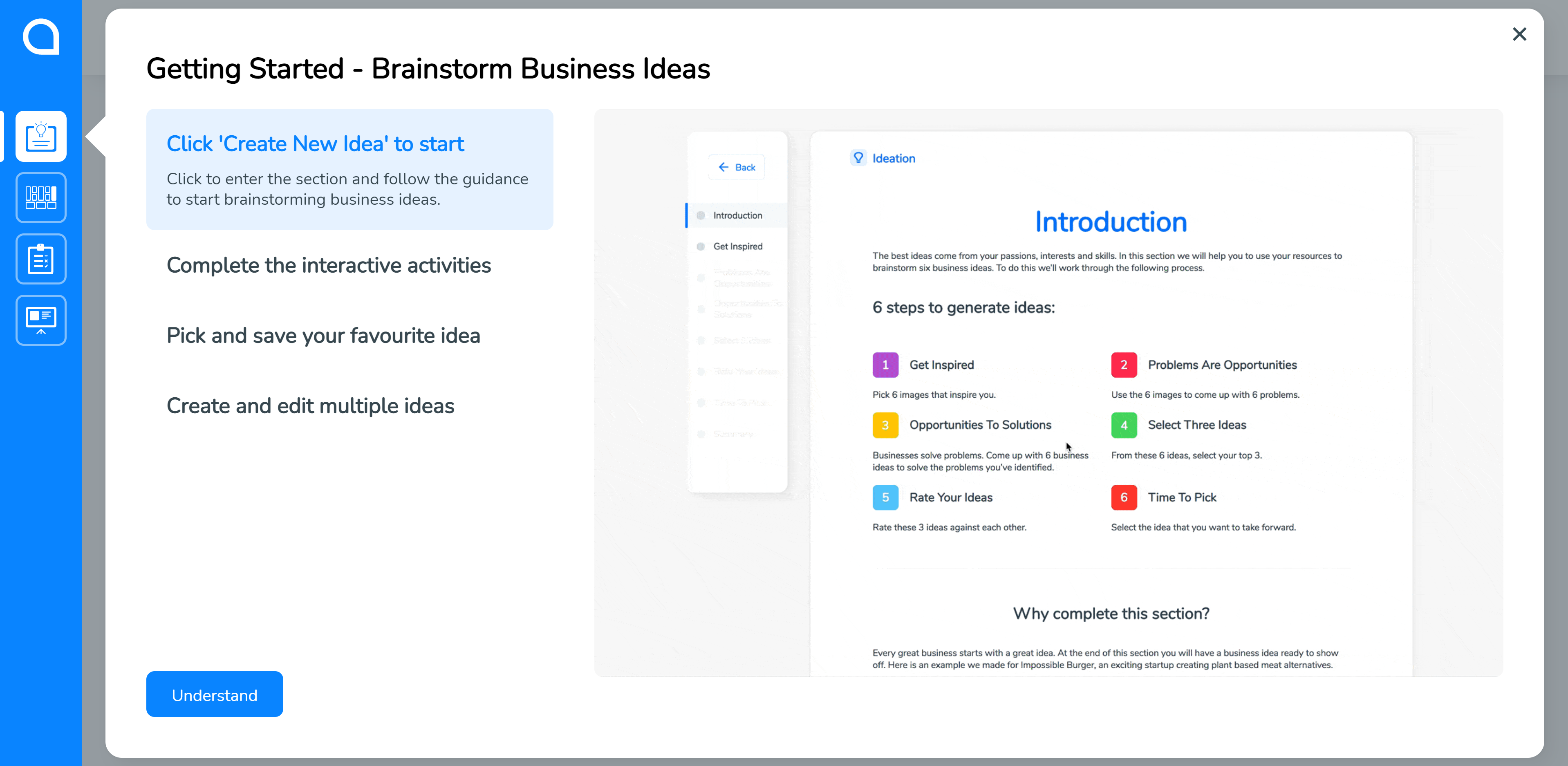 Start with Ideation in SimVenture Validate when you first log in.