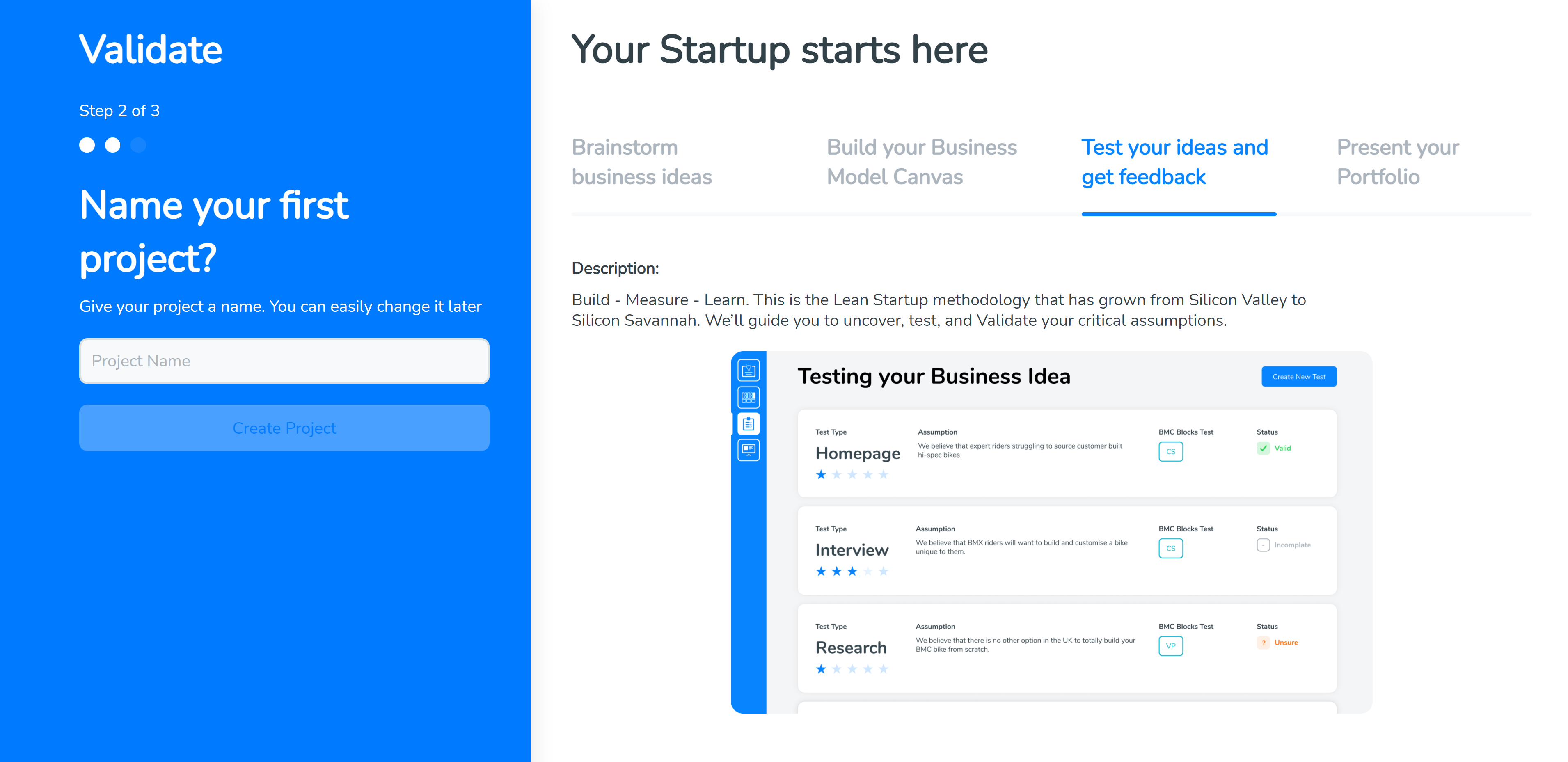 Your Startup starts here. Name your first business idea on SimVenture Validate.