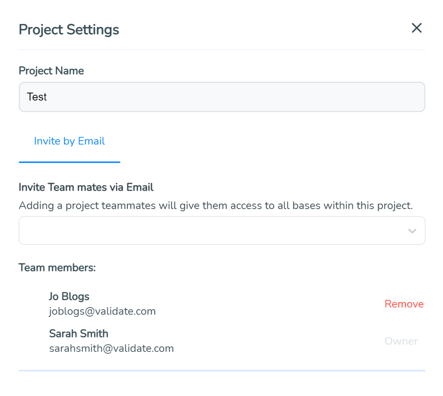 View your team members in SimVenture Validate in the project settings window.
