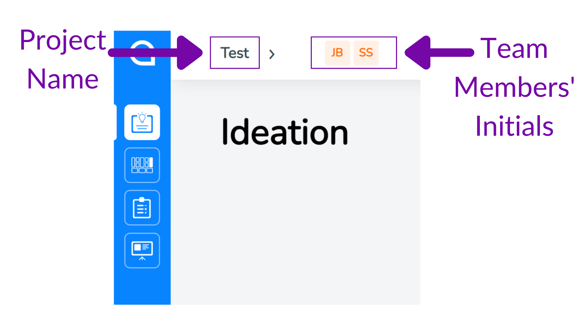 Easily see your team members who are collaborating with you on your startup project by seeing their initials in the top menu of SimVenture Validate.
